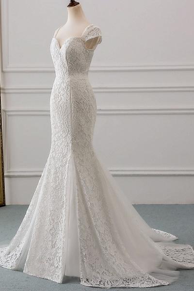 Sweetheart Short Sleeve Lace Mermaid Wedding Dress_1