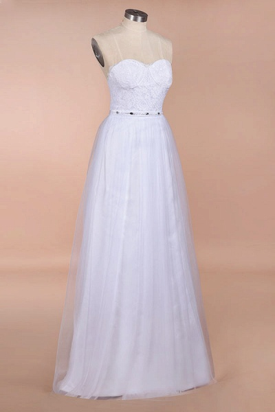 Graceful Strapless Tulle Lace A-line Wedding Dress_4