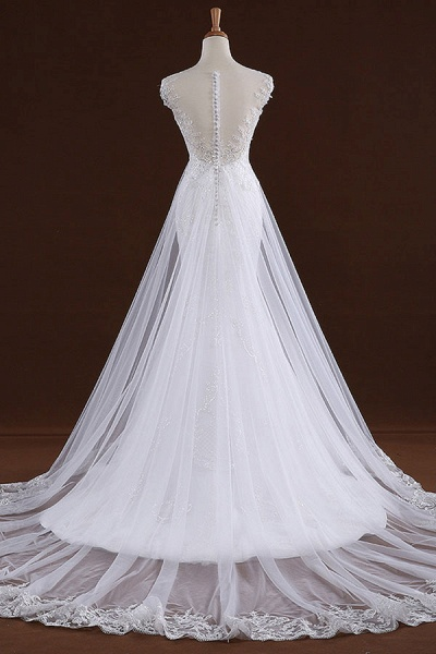 Sequine Appliques Tulle Mermaid Wedding Dress_3