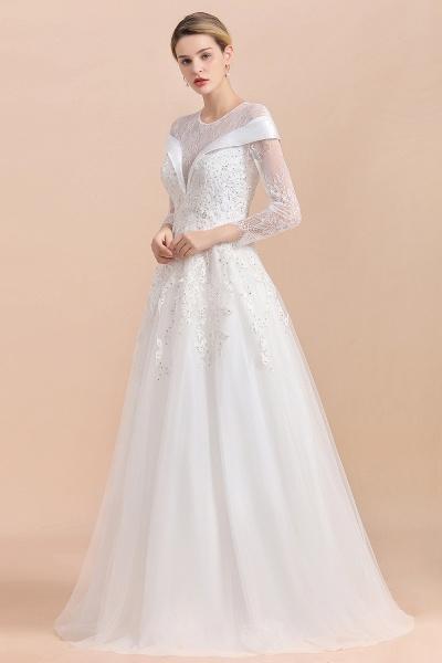 Elegant Floor Length Lace Long Sleeve Wedding Dress_7