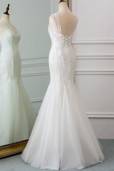 Lace-up Beading Floor Length Mermaid Wedding Dress_5