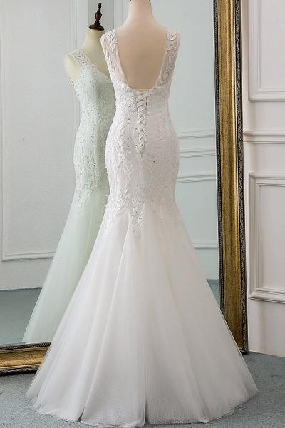 Lace-up Beading Floor Length Mermaid Wedding Dress_4