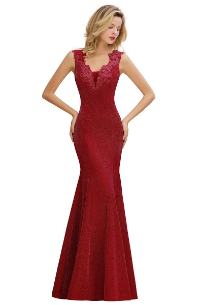 Fascinating V-neck Lace Mermaid Evening Dress_2