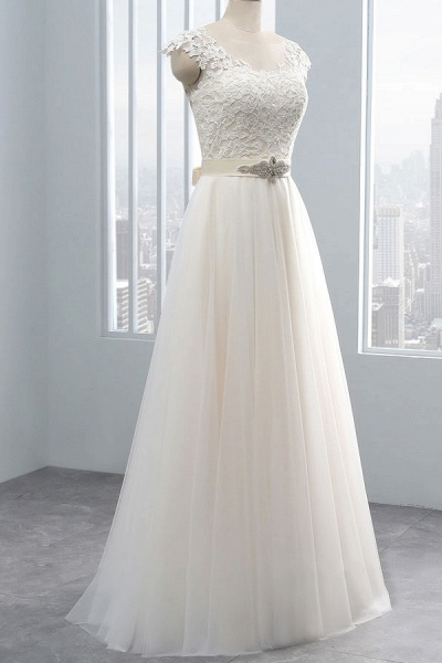 Elegant Cap Sleeve Lace Tulle A-line Wedding Dress_4