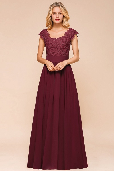Burgundy Cap sleeves Lace Evening Gowns with Appliques_14