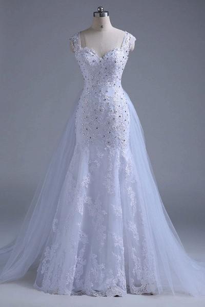 Beading Tulle Mermaid Floor Length Wedding Dress_4