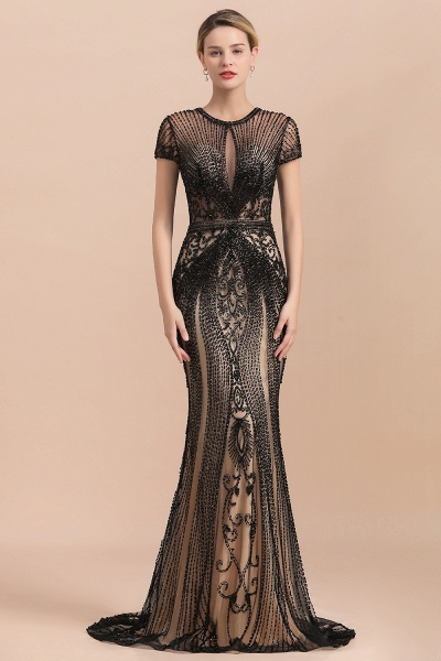 Luxury Black Beaded Mermaid Prom Dresses_2