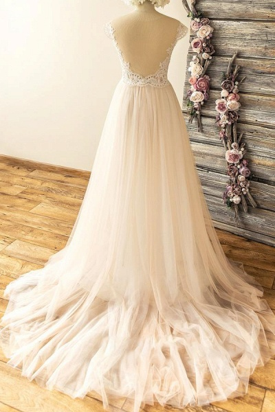 Amazing Lace Tulle A-line Court Train Wedding Dress_3