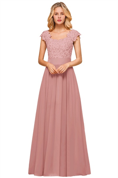 Burgundy Cap sleeves Lace Evening Gowns with Appliques_2