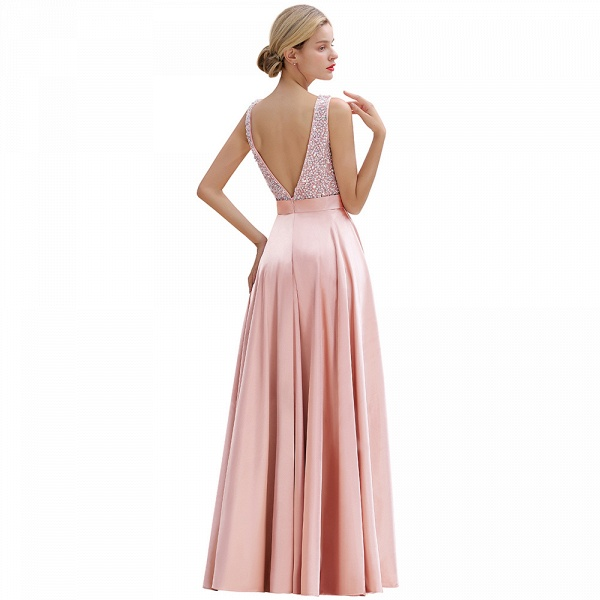 Awesome Open Back Beading Satin A-line Prom Dress_15