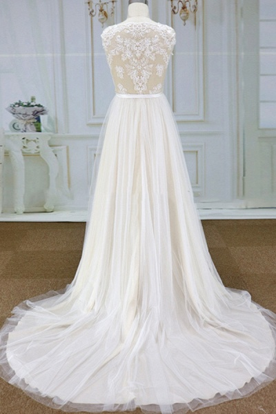 Chic Lace Chapel Train Tulle A-line Wedding Dress_3
