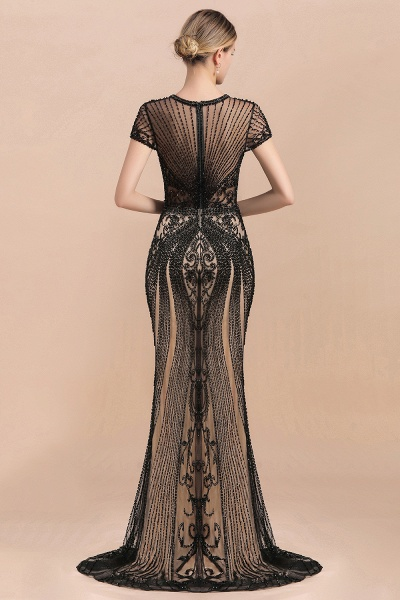 Luxury Black Beaded Mermaid Prom Dresses_7