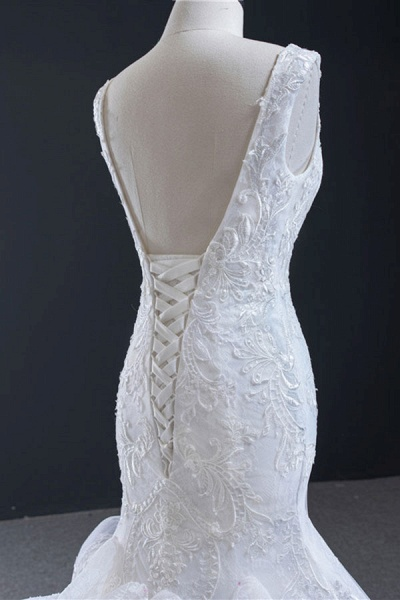 Graceful Lace-up Appliqes Mermaid Wedding Dress_7