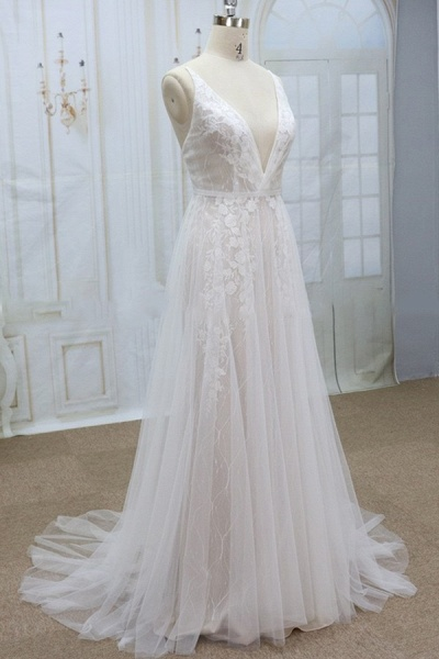 Spaghetti Strap V-neck Lace Tulle Wedding Dress_4