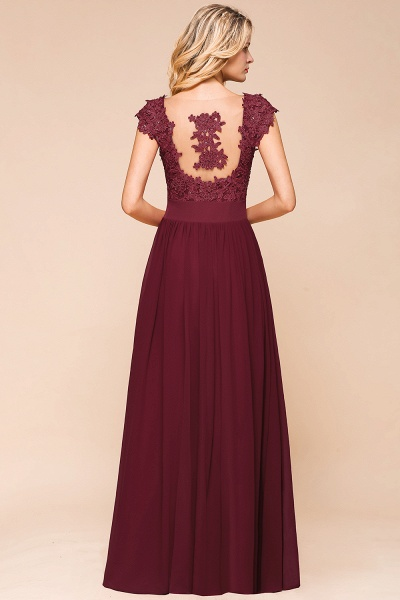 Burgundy Cap sleeves Lace Evening Gowns with Appliques_11