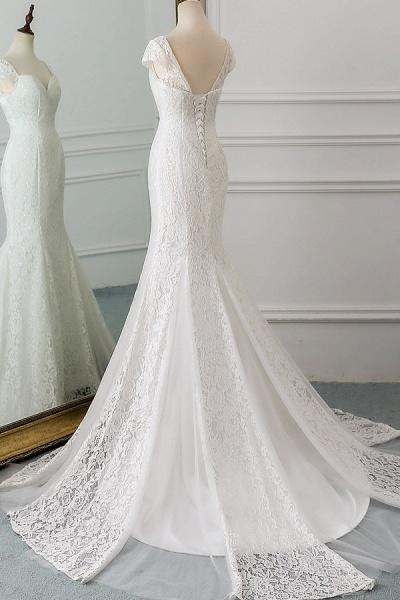Sweetheart Short Sleeve Lace Mermaid Wedding Dress_4