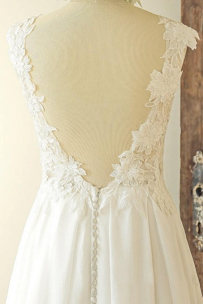 Open Back Appliques Chiffon A-line Wedding Dress_4