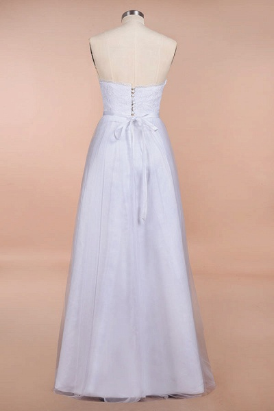 Graceful Strapless Tulle Lace A-line Wedding Dress_3