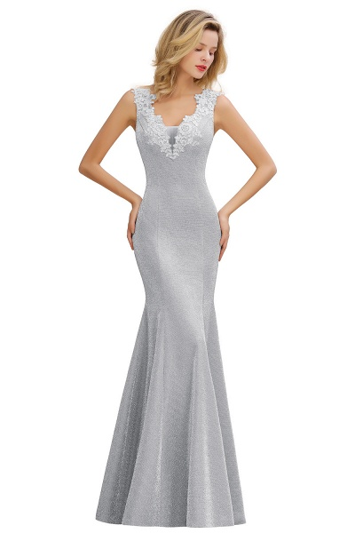 Fascinating V-neck Lace Mermaid Evening Dress_6