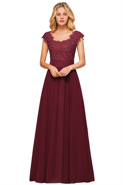 Burgundy Cap sleeves Lace Evening Gowns with Appliques_3