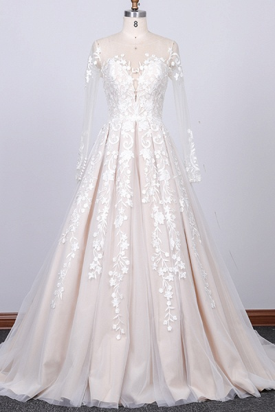 Long Sleeve Appliques Tulle A-line Wedding Dress_1