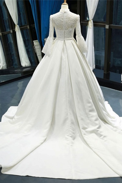 Elegant High Neck Long Sleeve Satin Wedding Dresses_3