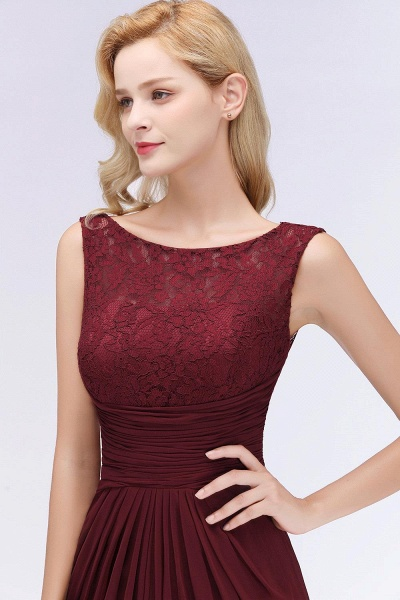 Mermaid Burgundy Chiffon Ruffles Evening Dress_5