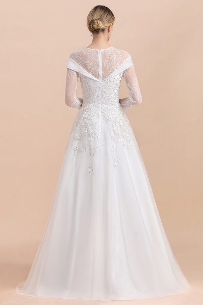 Elegant Floor Length Lace Long Sleeve Wedding Dress_3