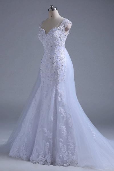 Beading Tulle Mermaid Floor Length Wedding Dress_5