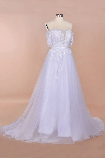A-line Off-the-shoulder Appliques Wedding Dress_4