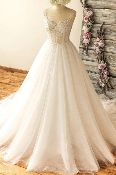 Awesome Sweetheart Appliques A-line Wedding Dress_1