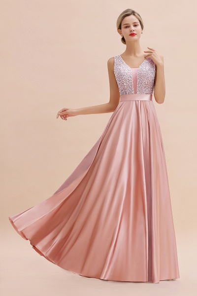 Awesome Open Back Beading Satin A-line Prom Dress_6