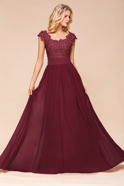 Burgundy Cap sleeves Lace Evening Gowns with Appliques_10