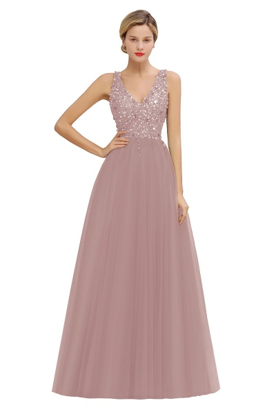 Fabulous V-neck Tulle A-line Prom Dress_1