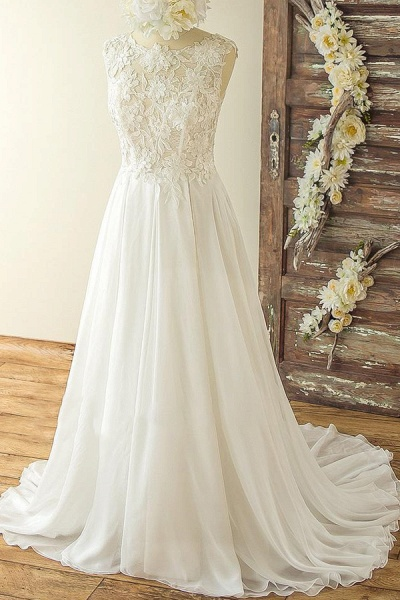 Open Back Appliques Chiffon A-line Wedding Dress_2