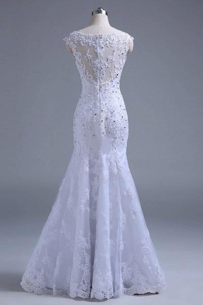 Beading Tulle Mermaid Floor Length Wedding Dress_3