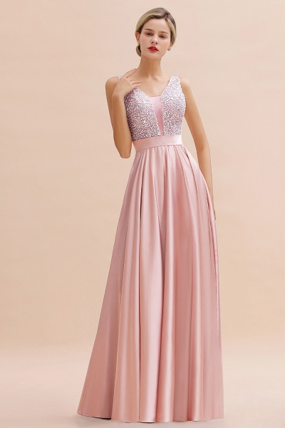 Awesome Open Back Beading Satin A-line Prom Dress_9