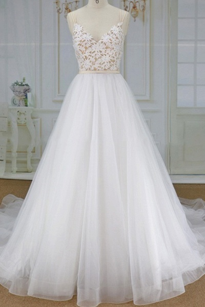 Applique Spaghetti Strap A-line Tulle Wedding Dress_1