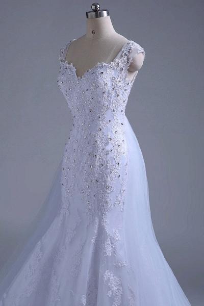 Beading Tulle Mermaid Floor Length Wedding Dress_8