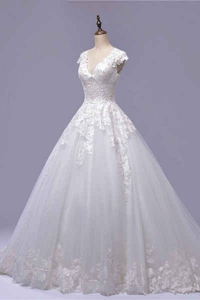 V-Neck Cap Sleeve Lace-up Tulle Wedding Dress