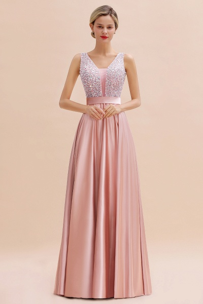 Awesome Open Back Beading Satin A-line Prom Dress_11
