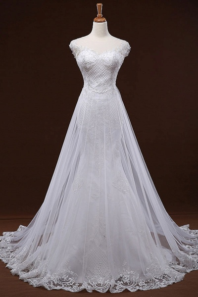 Sequine Appliques Tulle Mermaid Wedding Dress_1