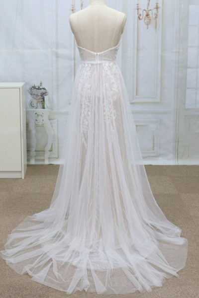 Spaghetti Strap V-neck Lace Tulle Wedding Dress_3