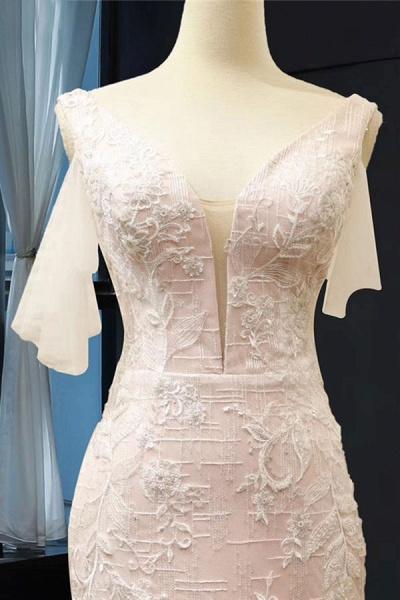 V-Neck Short Sleeve Appliques Mermaid Wedding Dress_4