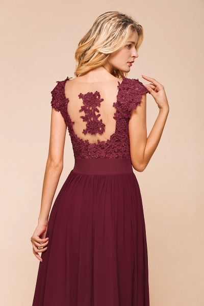 Burgundy Cap sleeves Lace Evening Gowns with Appliques_15