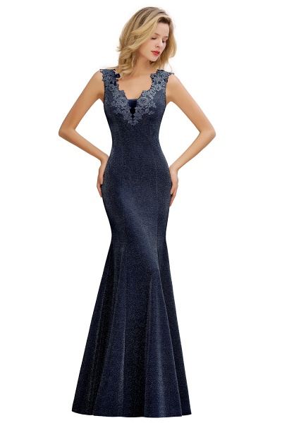 Fascinating V-neck Lace Mermaid Evening Dress_5