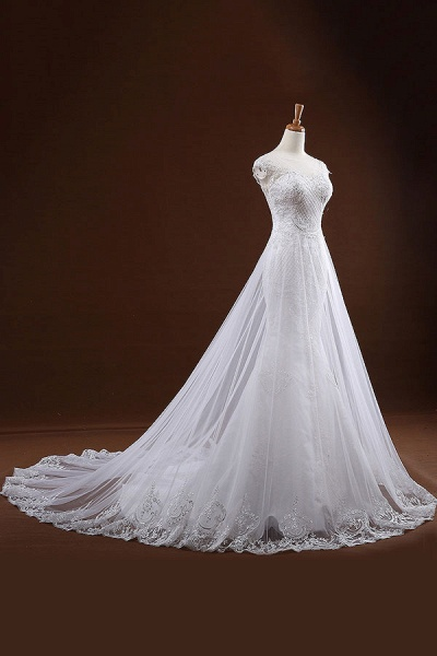 Sequine Appliques Tulle Mermaid Wedding Dress_6