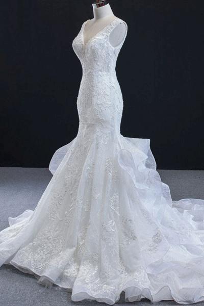 Graceful Lace-up Appliqes Mermaid Wedding Dress_4