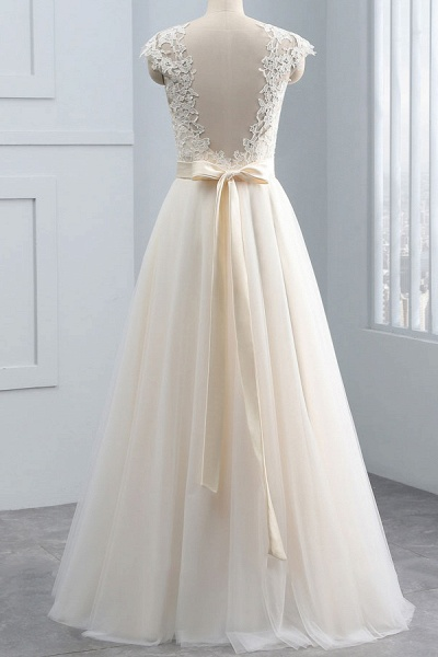 Elegant Cap Sleeve Lace Tulle A-line Wedding Dress_3
