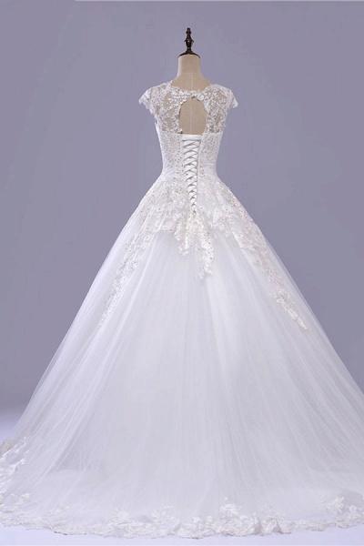 V-Neck Cap Sleeve Lace-up Tulle Wedding Dress_3